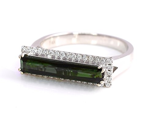 - May Design Natural Tourmaline Chrome Blue Green Emerald Cut and Diamonds East - West Ring 1.65 cttw 14K White Gold New Size 7