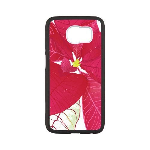 Samsung Galaxy S6 Case,Beautiful Plum Red Bougainvillea Pattern Best Durable Hard Plastic Phone Case for Samsung Galaxy S6 [Creative Cartoon Series]-Black (Plum Shiny)