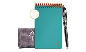 "Rocketbook Smart Reusable Notebook - Dotted Grid Eco-Friendly Notebook with 1 Pilot Frixion Pen & 1 Microfiber Cloth Included - Neptune Teal Cover, Mini Size (3.5"" x 5.5"")"