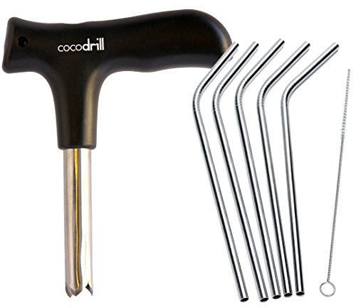 CocoDrill Coconut Opener Tool + 5 Reusable Straws -COMBO PACK - Stainless Steel Drinking - 1 metal straw + Cleaner - Eco Friendly, SAFE, NON-TOXIC