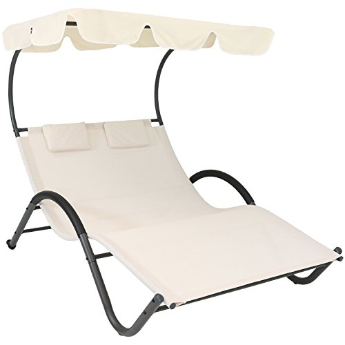 Sunnydaze Outdoor Double Chaise Lounge with Canopy Shade and Headrest Pillows, Portable Patio Sun Lounger, Beige (Lounge Cabana Beach)