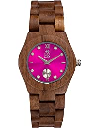 Wooden Watch For Women Maui Kool Hana Collection Walnut Wood Watch With Fucsia Hot Pink Face