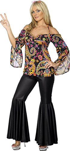 Wonder Woman Halloween Costume Pants (Smiffy's Women's Hippie Costume, Patterned Top and Flared pants, 60's Groovy Baby, Serious Fun, Plus Size 18-20, 30442)