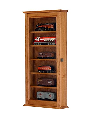 Model Train display case cabinet-HO Scale-Wall Hanging- Cherry *made in the USA* ()