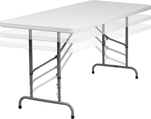 Flash Furniture 30W x 72L Height Adjustable Granite White Plastic Folding Table