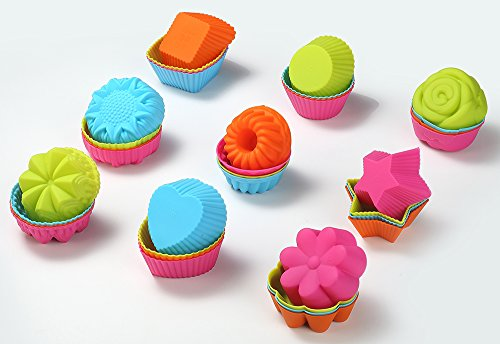 ULEE 36-Pcs Silicone Muffin Liners with 9 Shapes - Nonstick & Reusable Silicone Baking Cups - BPA Free Cupcake Molds