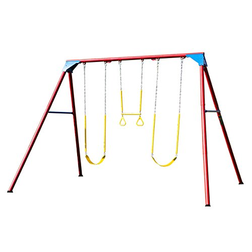 Lifetime 90200 Heavy Duty A-Frame Metal Swing Set, Primary Colors]()
