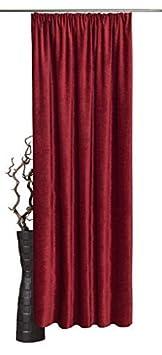 Double hauteur au choix, Largeur: 135cm, couleur au choix, Rouge, 160x135 H/B Largeur: 135cm Übergardine Fertigmaß