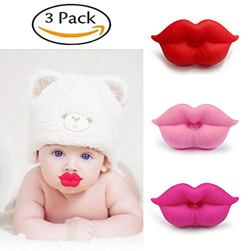 YYOO 3PCS Newborn Infants Silicone Lips Pacifier Cute Lip Mouth Baby Soother Pacifier, BPA Free, Newborn Infant Pacifier, Great Gift for Baby Shower