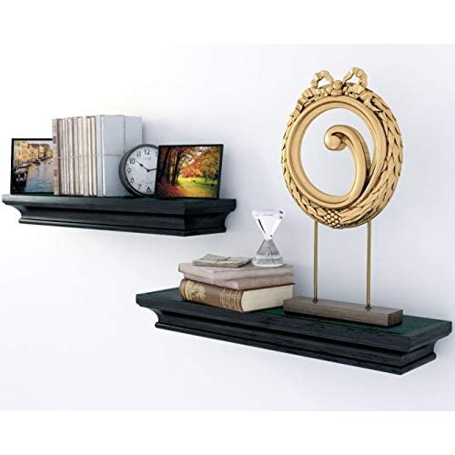 Traditional Small Wall Shelf Ledge Crown Molding Design Black Set of 2 , Buyer Receives 2 Shelves