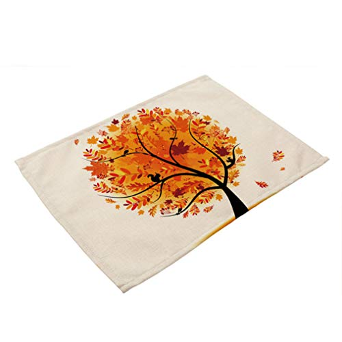 (RXIN Set of 4 Painted Tree Cotton Linen Placemat,Insulation Table Mat Coasters Washable Table Mats for Kitchen)