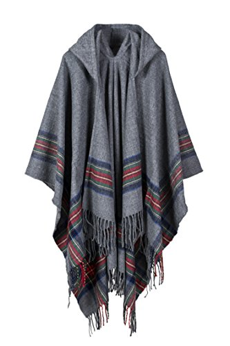 VamJump Women Winter Thicken Hooded Cashmere Tassel Blanket Cape Poncho Scarf