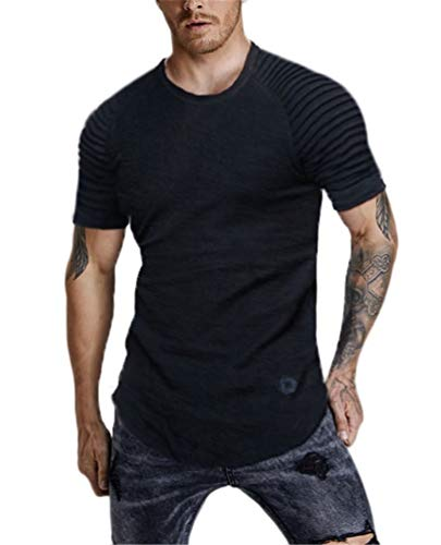 - Nicetage Mens Short Sleeve T Shirts Slim Fit Muscle Ruched Pullover Hipster Hip Hop Basic Tees (HS80-151 Black XXL)