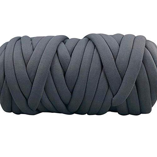 - 80 Meters Washable,Tube Yarn,Vegan Chunky Yarn,Cotton Braid Giant Yarn,Dak Grey Braid Chunky Yarn,DIY Roving Yarn,Blanket,Rug,Carpet Materials