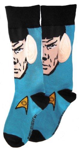 Star Trek Spock Face With Big Ears Blue Black Crew Socks