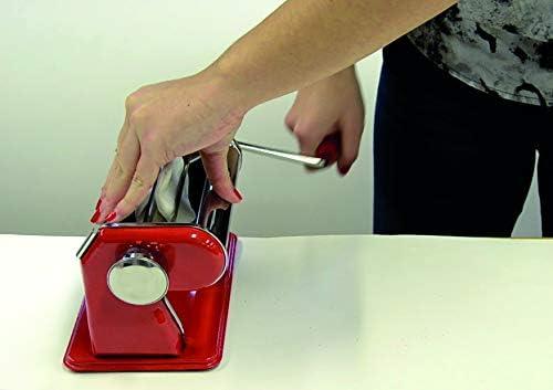 Artemio 18002081 Machine à pâte, Rouge et Acier, 21x14 x14,5 cm