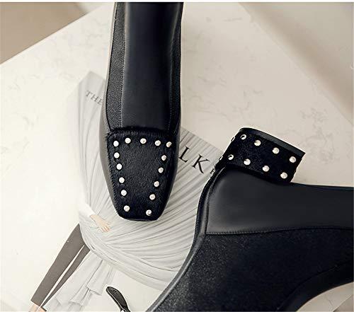con Cuadrada Botas Botas Remache Negro de Trasera Botines Femenino Mujer TSNMNB tacón Cabeza Cuero Grueso de Estiramiento de de Cremallera Z6AOqSW
