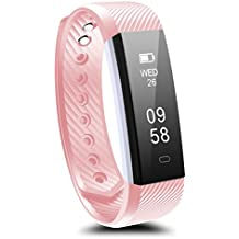 Fitness Tracker, Ronten R2 Bluetooth Waterproof Activity Tracker Wireless Pedometer Smart Bracelet Wristband with OLED Touch Screen for IOS & Android Smartphone (Pink)