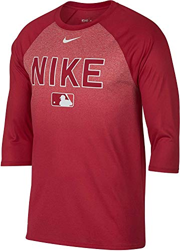 - Nike Men's Legend Raglan ¾-Sleeve Baseball Shirt (M, Red)