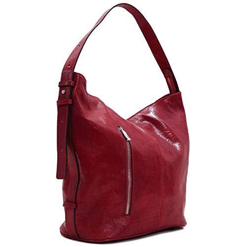 (Floto Sardinia Leather Tote Bag Convertible Crossbody Women's Bag (Tuscan Red))