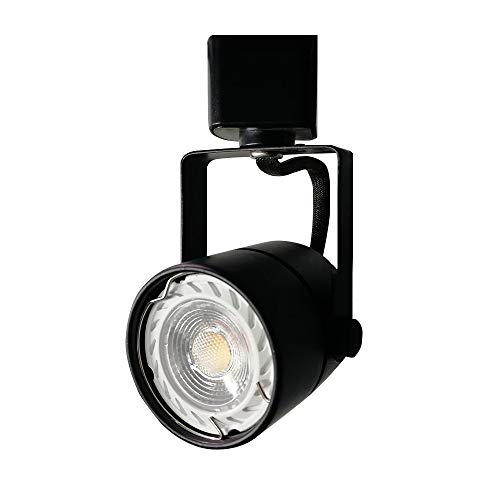 Track Single Head Modern (King SHA Black GU10 LED Track Lighting Head with 6 Watt LED Bulb 3000K CRI82 Non-Dimmable Compatible H Type 3-Wire Single Circuit Track Systems,ETL Listed)