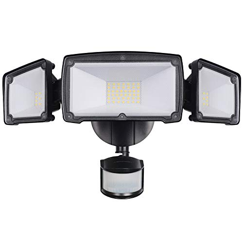 LEPOWER 3500LM LED Security Light, 39W Super Bright Outdoor Motion Sensor Light, 6000K, IP65 Waterproof, 3 Adjustable Heads & ETL Certified Motion Activated Flood Light for Entryways, Yard and Garage