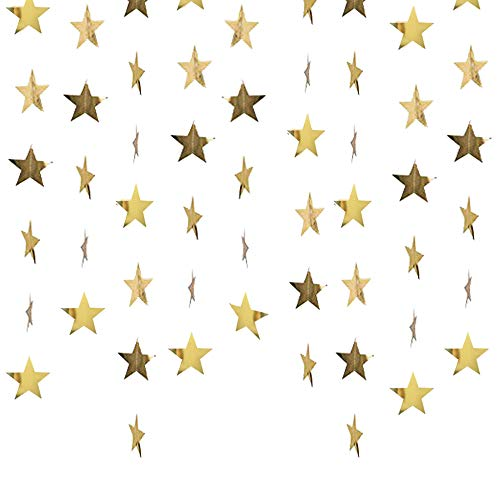 Lacheln Star Party Decorations Birthday Baby Shower Christmas Hanging Paper Garland (Glossy Gold,26 Feet) ()