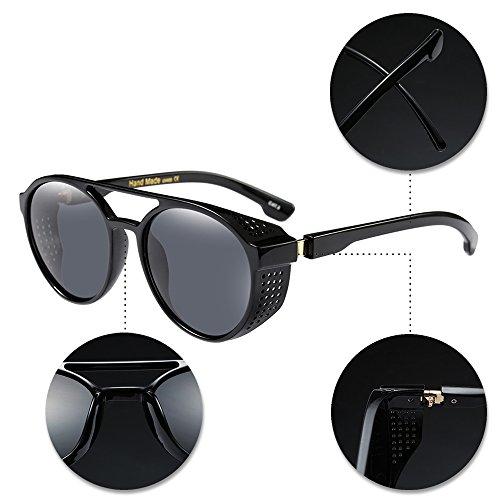 sol y Vintage de Gafas aire Mujer libre para 01 Retro Unisex Hombre Redondas UV400 Al BOZEVON Protección Estilo nRY6w7gqO
