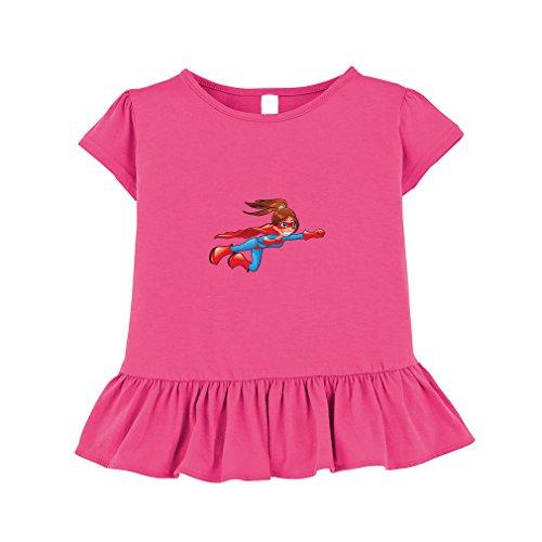 Superhero Girl Cartoon Character Toddler Girl Ruffle Fine Jersey T-Shirt Tee 4T Hot Pink (Cute Girl Cartoon Characters)