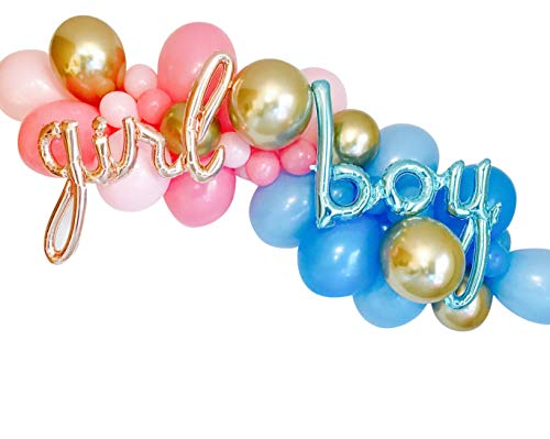 40pcs DIY Pink Blue Balloons Garland Gender Reveal Balloons Baby Reveal Shower Gender Reveal Party Girl or Boy He or She What Will It Be Party Decorations ()