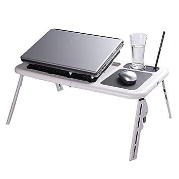 Amazon Com Flexzion Folding Laptop Desk Adjustable Usb Notebook Pc