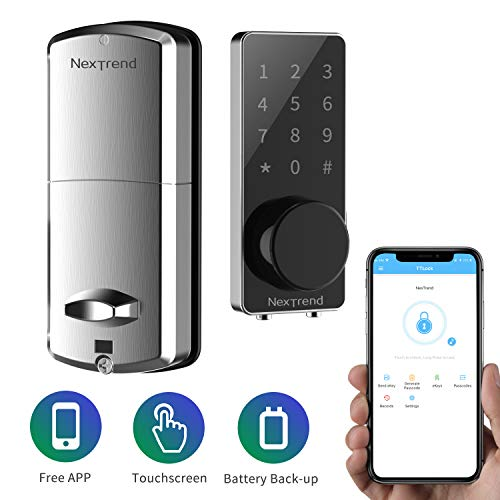 [Newest]Smart Lock, NexTrend Smart Electronic Door Lock with Bluetooth Keyless, Touchscreen, Mechanical Keys Enabled Auto Lock Alarm Technology for Home, Hotel, Apartment, Silver