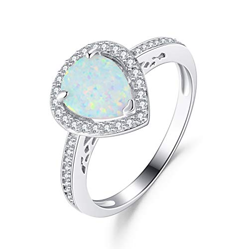 (925 Sterling Silver White Created Opal Teardrop Halo Rings Gold Plated Dainty Engagement Water Drop Rings for Women Size 8)