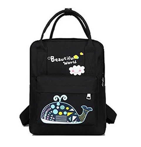 Zippers Nylon Daypack à Sacs Dos Noir Randonnée de ROFBL181027 Femme Daypacks Odomolor Mode qw4ZYY
