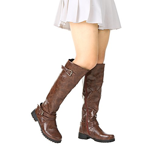 Romacci Women Mid Calf Boots Round Toe Female Matte Leather Knight Boot Ms Buckle Square Low Heel Shoes Heeled Footwear Brown Fj4RPs8Y89