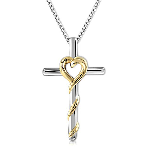 GEORGE · SMITH 925 SterlingSilver Heart Pendant Necklace Gold Plated Birthday Necklaces Jewelry Gifts for Women Girls