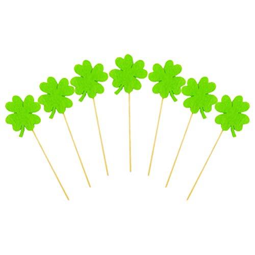 Patricks Day Picks - Amosfun 24pcs St Patrick's Day Cake Topper Felt Shamrock Clover Cupcake Picks for St Patrick's Day Party Decorations - Green