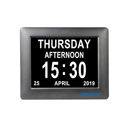 Johnziny 7 inch Digital Calendar Day Clock- 8 Alarms Memory Loss Vision Impaired Dementia Alzheimer Seniors Elderly Alarm Clock with Play Music Video Photo Function