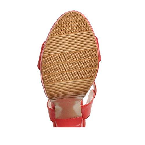 RAZAMAZA Mujer Moda Correa de tobillo Slingback Sandalias Tacon Ancho Plataforma Zapatos Rojo