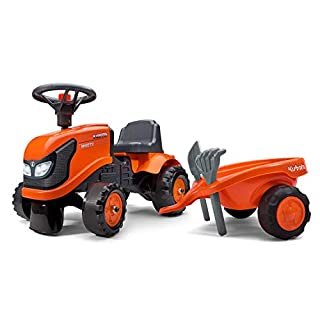 Falk Kubota Push-Along Orange Tractor with Trailer, Accessories and 2 Set of Decals