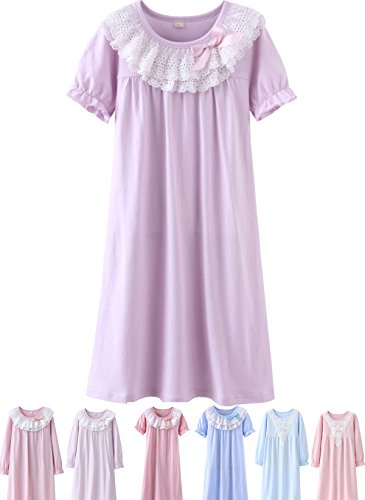 Abalacoco Girls Kids Princess Lace Nightgown Long Sleeve Cotton Sleepwear Dress Pretty Homewear Dress (4-5 Years, Purple/Short)