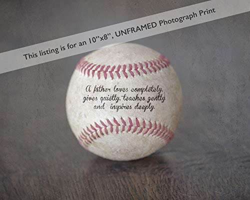 Baseball Photo with Father Quote, Unique Sports Home Decor Gift for Dad from Kids