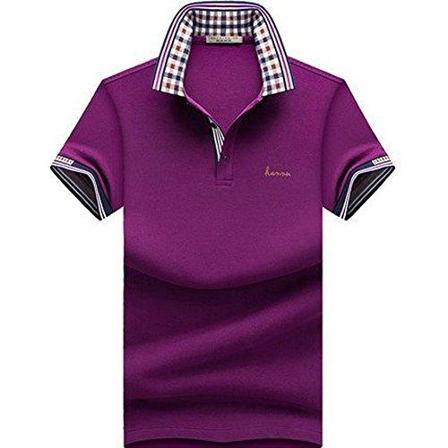 (habille) メンズ ポロシャツ 半袖 襟 バーバリー チェック 柄 父の日 プレゼント ゴルフウェア 大きいサイズ ボタン 鹿の子 白 おまけ付(6カラー)