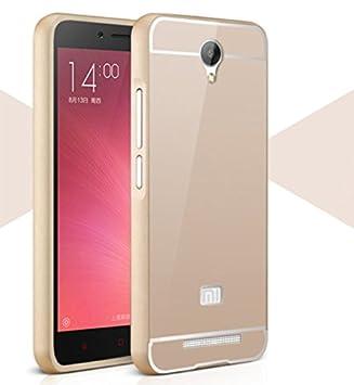 Prevoa ® 丨Xiaomi Redmi Note 2 Funda - Aluminum Bumper Funda PC Back Case para Xiaomi Redmi Note 2 2 + 5.5 Pulgadas Smartphone - Oro
