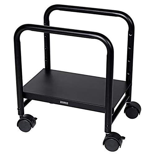 EUREKA ERGONOMIC CPU Stand Height-Adjustable Computer Desktop CPU Steel Cart Rolling Stand Adjustable Mobile Cart Holder Locking Wheels Suitable for Standing Desk Converters-Black