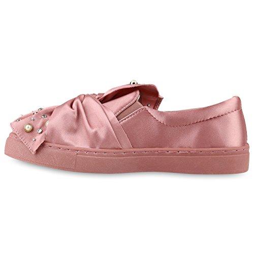 Stiefelparadies Bequeme Damen Slipper Sneaker Slip-Ons Leder-Optik Metallic Schuhe Schleifen Flats Denim Velours Flandell Rosa Nieten