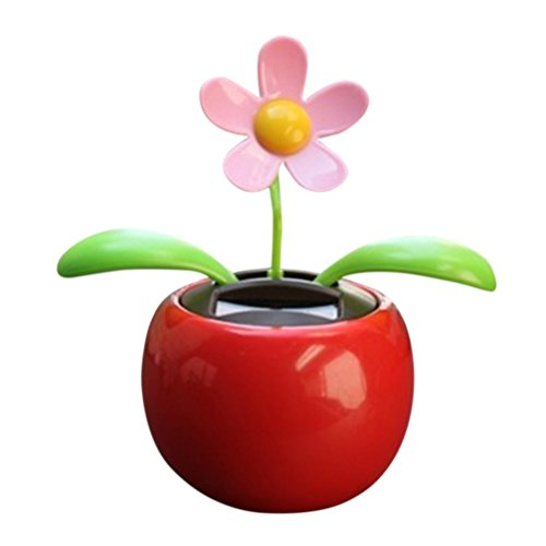 Lisin New Solar Powered Dancing Flower Swinging Animated Dancer Toy Car Decoration (red) (Halloween Fire Room Escape Game)