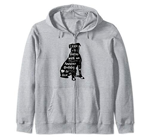 American Bulldog Shirt for American Bulldog Dog Lovers Zip Hoodie ()