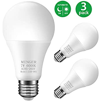 MINGER Sensor Lights Bulb, 7W Smart Automatic Dusk to Dawn LED Bulbs with Auto on/off, Indoor / Outdoor Lighting Lamp for Porch, Hallway, Patio, Garage (E26/E27, 600lumen, Cold White) [3-Pack]