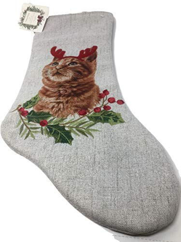 Ridgefield Home Cat with Antlers Christmas Stocking - 20